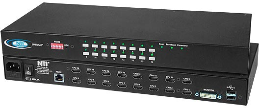 24-port high density DVI USB KVM switch, RS232 control, rackmount kit