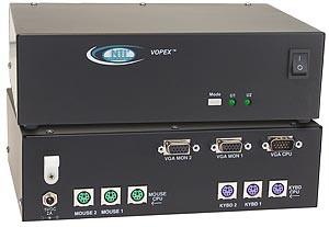 2 VGA monitors, PS/2 keyboards & PS/2 mice control 1 PS/2 computer