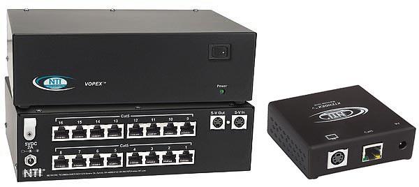 VOPEX-C5SV-16 Local Unit (Front & Back) and ST-C5SV-600 Remote Unit, extend Hi-Res video over numerous remote displays via CAT5